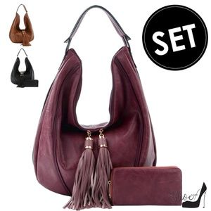 Double-Tasseled Hobo Handbag & Wallet Set
